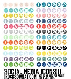 AWESOME! Free Download: Social Media Icons. from IROCKSOWHAT.  #socialmedia #blogs