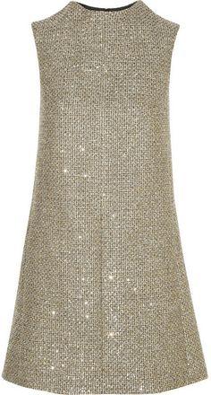 Saint Laurent Sequin-embellished metallic tweed mini dress on shopstyle.com