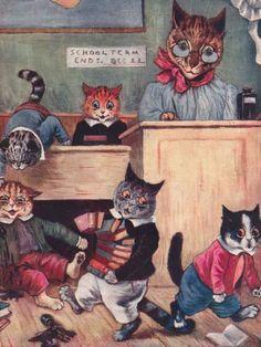 Cat w/ Kittens in School by LOUIS WAIN 1909 ~