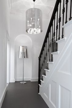 black railings with a white staircase. sexy.
