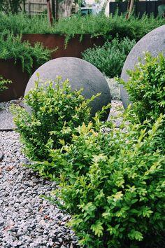 Stone concrete balls Livable Sheds, Garden Accessories, Water Features, Stepping Stones, Natural Stones, Balls, Concrete, Tower, Outdoor Decor