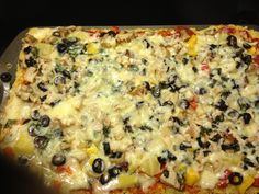Wheat-free pizza with lactose free cheese delicious and I can eat it!!!