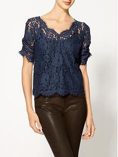 Nevina Short Sleeve Lace Top by Joie