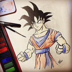 Atendendo a pedidos Goku #eudesenho #mangá #drawing #goku #desenho #aquarela #sketch #myart #myartwork #youtube