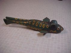 Antique Folk Art Spotted Frog Vintage Fish Decoy Ice Spearing Lure | eBay