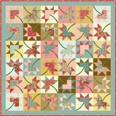 Maple Stars Quilt FREE Pattern Download available at connectingthreads.com