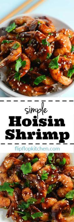 Simple Hoisin Shrimp | Hoisin shrimp recipe made with: shrimp, hoisin sauce, soy sauce, rice vinegar, and spices. Ready in under 20 min. | flipflopkitchen.com
