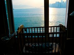 Max sleeping in Hong Kong. Not a bad view to wake up to!     http://www.onenormalfamily.com/traveling-around-the-world-with-baby/