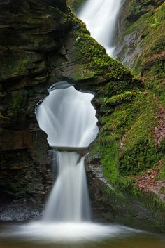 Merlin's Well, Cornwall ~ This beautiful and unusual waterfall lies hidden away at the end of a lovely wooded valley.