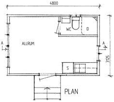Friggebod med kök och badrum. spegelvänd + några m2 till för ett litet sovrum Compact Living, Tiny House, Small Cabins, Floor Plans, Map, How To Plan, House Ideas, Houses, Location Map
