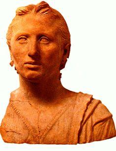 Etruscan votive bust of a woman, terracotta, excavated in 19th century in Caeri, Cerveteri. Third century BC