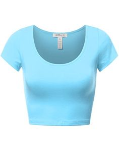 FPT Womens Basic Short Sleeve Scoopneck Crop Top