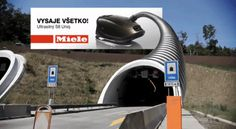 Great Miele vacuum cleaner ad over a highway