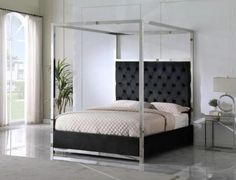 """Best Master JJ026-BK Red barrel studio linford black velvet fabric diamond tufted silver metal queen canopy bed set. Queen bed measures 66"""" x 85"""" x 84"""" H. Some assembly required. Also available in Cal king and Eastern King at additional cost."""