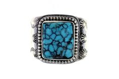 Handmade Native American Les Baker Sterling Silver Turquoise Ring - Stagecoach