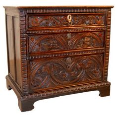 Check out this item at One Kings Lane! 17th-C. English Oak Carved Chest