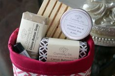 Homemade pampering gift baskets - how-tos for the soap, basket, lip balm, and eye mask! #diy #gifts