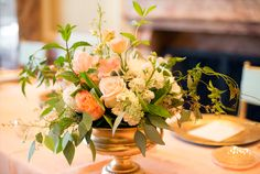 Blush and peach centerpiece // Photographer: Chudleigh Photography, Wedding Planner/Coordinator: Michelle Leo Events, Flowers & Decor: Mayflowers Event Floral // see more: http://theeverylastdetail.com/blush-blue-vintage-glam-salt-lake-city-wedding/