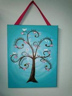 Fruit of the Spirit ScriptureTree Wall Art Painting - teal blue, pink, brown, birds and flowers