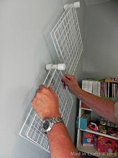 Craft Room Organization: PVC and Wire Shelf Paint Storage - Mad in Crafts http://madincrafts.com/craft-room-organization-pvc-and-wire/?utm_content=buffer46390&utm_medium=social&utm_source=pinterest.com&utm_campaign=buffer#nonCarded=1