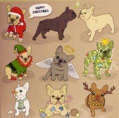 Frenchies at Christmas, French Bulldog illustrations.