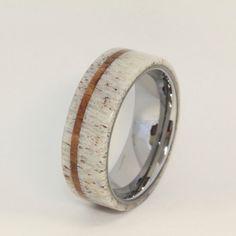 Deer Antler Ring with Oak Pinstripe and Titanium Sleeve