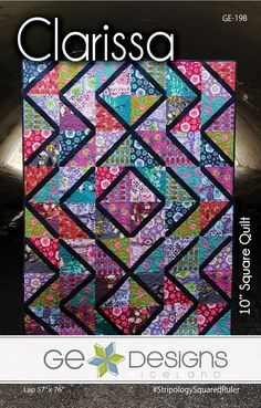 Clarissa Quilt Pattern by Gudrun Erla of GE Designs / Layer Cake Friendly Fabric Crafts, Sewing Crafts, Sewing Projects, Square Patterns, Quilt Patterns, Quilting Ideas, Patchwork Patterns, Half Square Triangle Quilts, Square Quilt