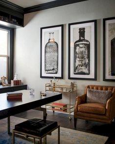 Nice 38 Stunning Small Home Office Furniture Design Ideas. Small Home Office Furniture, Home Office Decor, Home Decor Bedroom, Office Ideas, Men Office, Masculine Office Decor, Office Decorations, Office Setup, Office Lighting