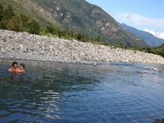 Swimming in a small stone beach at the Maggia River, in the Italian part of Switzerland. Photo: Bruny Nieves