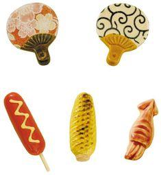 Mino Yaki Summer Festival Chopstick Rest 5pcs (Handcrafted)