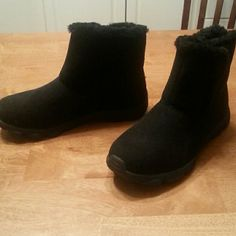 Slip on booties Never worn. .  just didn't fit right.. fur lined. Avon Shoes Ankle Boots & Booties
