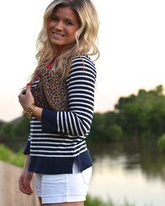 navy & white stripes, white shorts, leopard clutch