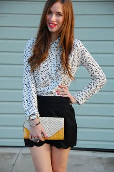 Love. Love. Love it all. Printed blouse, scalloped shorts, hot pink nails, and that clutch! mlovesm.