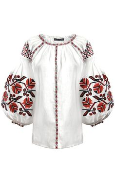 'Royal flower' blouse with red and black embroidery | Varenyky Fashion