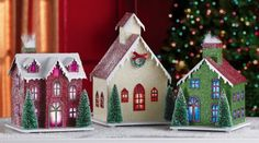 Christmas village Red and Purple | Collections Etc - Lighted 3Pc Holiday Village Indoor Christmas ...