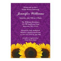 Sunflower Purple Damask Bridal Shower Invitation Rustic Bridal Shower Invitations, Sunflower Wedding Invitations, Bridal Shower Cards, Country Wedding Invitations, Western Bridal Showers, Backyard Bridal Showers, Bridal Shower Rustic, Damask, Purple