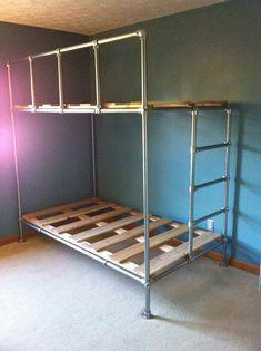 DIY Wall Mounted Pipe Shelf with Matching Convertible Bunk Bed - Pipe Bunk Bed - Pallet Bunk Beds, Rustic Bunk Beds, Wood Bunk Beds, Bunk Beds With Stairs, Twin Bunk Beds, Kids Bunk Beds, Farmhouse Bunk Beds, Cheap Bunk Beds, Bunk Beds Built In