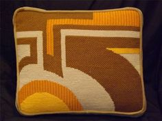 """Vintage Mid Century Modern Needlepoint Pillow 15"""" x 13"""""""