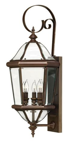 """Hinkley Lighting H2454 27"""" Height 3 Light Lantern Outdoor Wall Sconce from the A Copper Bronze Outdoor Lighting Wall Sconces Outdoor Wall Sconces"""