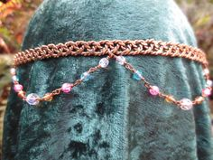 Braided Brass Circlet with draped faceted by SpiritoftheGoddess, $39.00