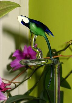 Parrot  orchid rod  glass animal figurine by CaraMagicGlass, $25.00
