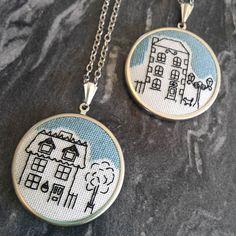 & Embroidery Jewelry, Embroidery Art, Cross Stitch Embroidery, Cross Stitch Patterns, Cute Embroidery Patterns, Punch Needle Patterns, Cross Stitch House, Mini Cross Stitch, Cross Stitch Collection