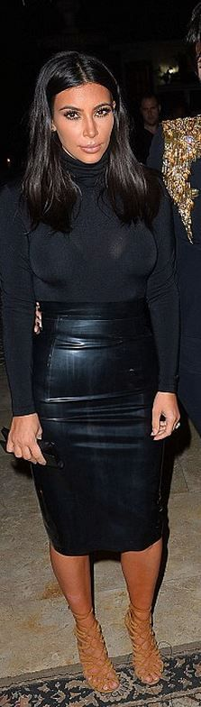 Who made  Kim Kardashian's black turtleneck top, latex skirt, and suede tan lace sandals?