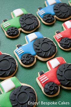 Get ready for some farmyard fun! Here are some colourful tractor cookies that I made a little while ago for a fun farmyard themed party for a little boy. The birthday boy in question loves tracto… Tractor Cookies, Farm Cookies, Cookies For Kids, Cut Out Cookies, Iced Cookies, Royal Icing Cookies, Sugar Cookies, Baby Boy Cookies, Farm Birthday