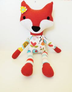 Fox Plush Doll Woodland Fox Softie Fox Soft Animal by TashiBear, #fox, #handmade doll, #woodland