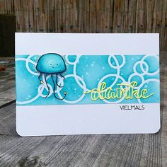 The bluish jellyfish with the blue bubble background will be my second entry for the the current challenge over at the create a smile blog (http://createasmilestamps.blogspot.de/2016/08/new-challenge-codeword-blue.html). I created the background with a little help from a friend. Thanks @pepitahasenkeks 😚. #createasmilestamps #createasmile #strahlendeküste #thankyoudie #minidanke #coloring #watercolor #cardmaking #kartenbasteln #handmade #thankyoucard