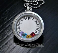 Floating Locket /  Mom Floating Locket / Grandma Necklace / Hand Stamped Jewelry by SilverImpressions on Etsy https://www.etsy.com/listing/264087974/floating-locket-mom-floating-locket