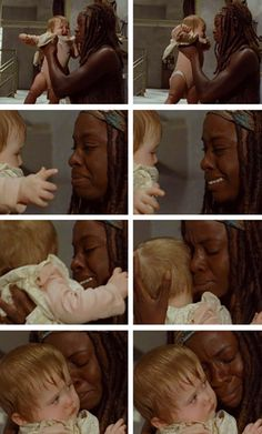 "Michonne and baby Judith This is where I said out loud, ""Hold that baby for real, Michonne. Hey, Michonne must have lost her baby,"" and that was where I broke down and cried into my shirt while Rick killed pigs."