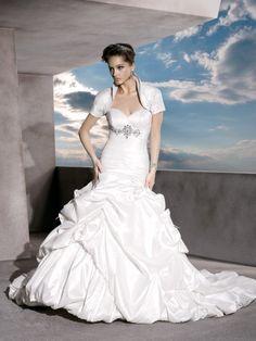 Strapless Ruched Taffeta Sweetheart Wedding Dress with Bolero Jacket