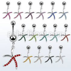"Surgical #steel belly banana for #piercing, 14g (1.6 mm) with a 5 & 8 mm plain steel ball and a dangling star fish - length 3/8"" (10 mm). Wholesale price: $1.54 US"